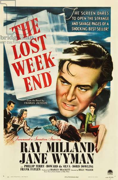 THE LOST WEEKEND, Ray Milland, 'Style A' 1-sheet poster art, 1945