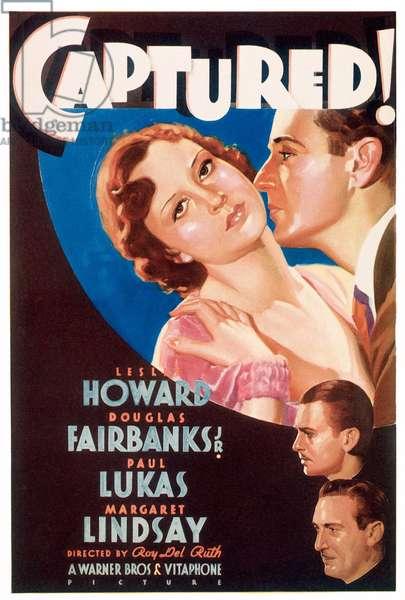 CAPTURED!: CAPTURED!, top from left: Margaret Lindsay, Leslie Howard, bottom from top: Douglas Fairbanks, Paul Lukas on midget window card, 1933.