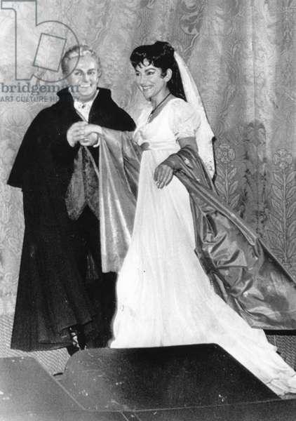"Tito Gobbi and Maria Callas take a curtain call at the Metropolitan Opera during a performance of ""Tosca"", New York, 1965"