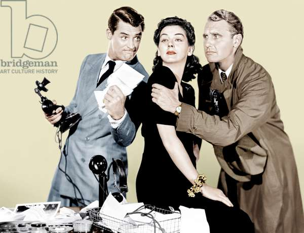 La dame du vendredi: HIS GIRL FRIDAY, from left: Cary Grant, Rosalind Russell, Ralph Bellamy, 1940