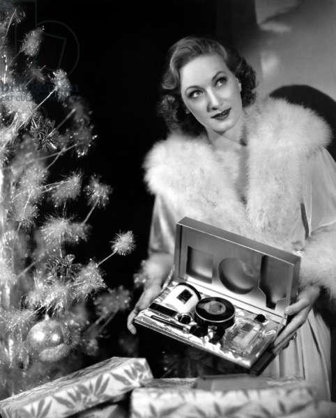 Lucky Tala Birell Receives a Box of Max Factor Makeup for Christmas, 1935