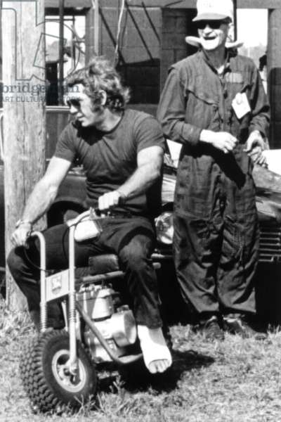 Steve McQueen, with recently broken foot, preparing for the Sebring Grand Prix, 1970