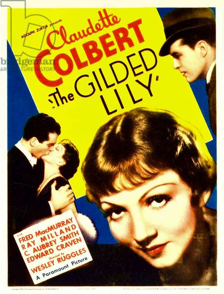Aller et retour: THE GILDED LILY, from left: Fred MacMurray, Claudette Colbert, far right: Ray Milland on midget window card, 1935.