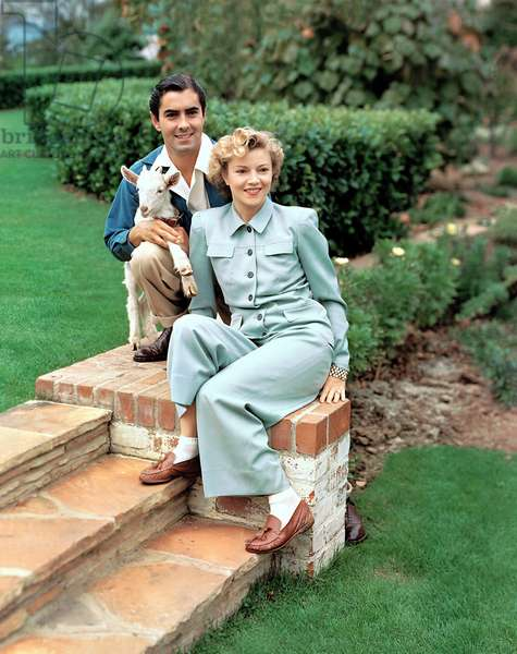 TYRONE POWER and wife Annabella, 1940s.