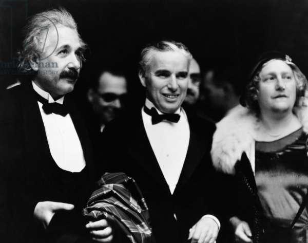 Albert Einstein, Charles Chaplin, Elsa Lowenthal Einstein, at the première of CITY LIGHTS, Los Angeles, 1931