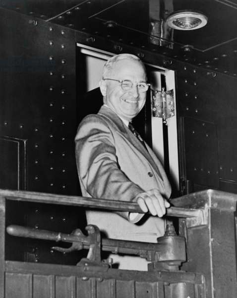 President Harry Truman during his whistle stop campaign in 1948. - (BSLOC_2014_15_52): President Harry Truman during his whistle stop campaign in 1948. - (BSLOC_2014_15_52)