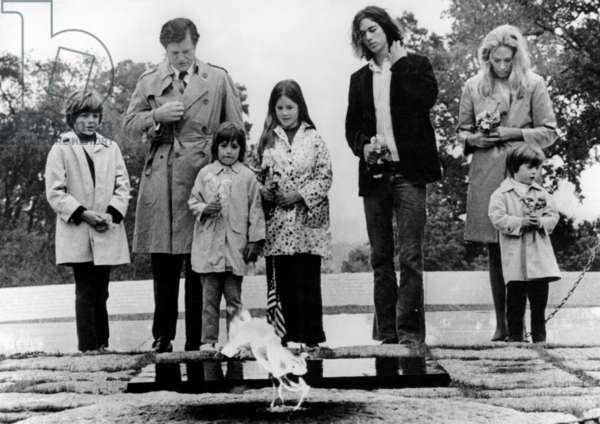 The Kennedy family visits the grave of the late President John F. Kennedy; from left: Edward Kenmnedy Jr., Edward Kennedy, Max Kennedy, Kara Kennedy, Robert F. Kennedy Jr., Jean Kennedy Smith, Patrick Kennedy, at Arlington National Cemetery, 1971