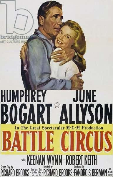 Le cirque infernal: BATTLE CIRCUS, l-r: Humphrey Bogart, June Allyson on poster art, 1953.