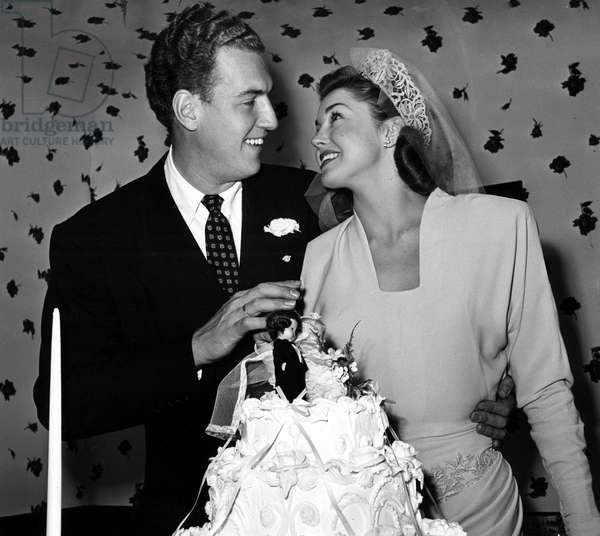 ESTHER WILLIAMS and Ben Gage wedding, 1945.