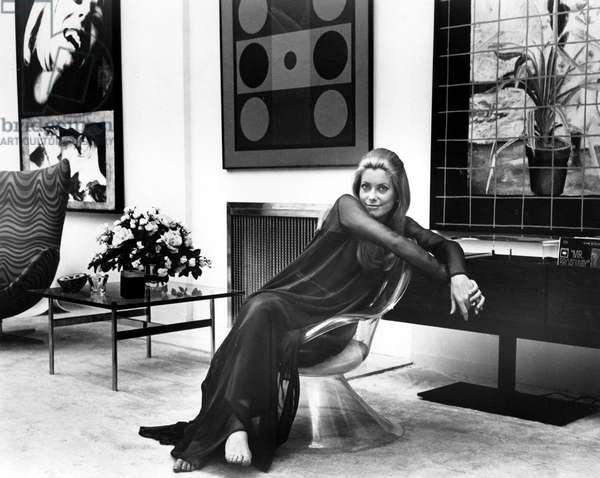 Catherine Deneuve on the set of THE APRIL FOOLS, 1969