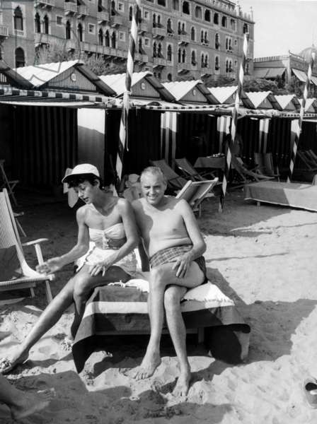 Hedy Lamarr, left, and her fifth husband, W. Howard Lee, on vacation, ca. mid-1950s, �Mondadori Pres