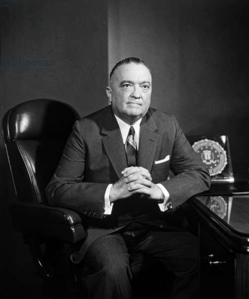 J. Edgar Hoover: Portrait of FBI Director J. Edgar Hoover. Ca. 1960.