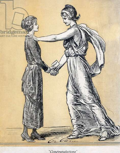 Magazine Life: Magazine cover commemorating the final ratification of the 19th amendment granting women the right to vote. LIFE magazine, June 28, 1920.