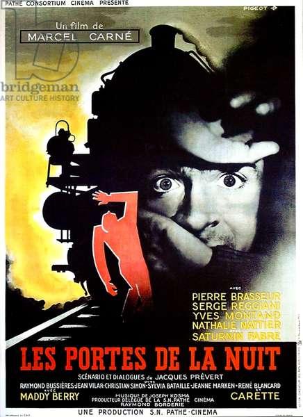 LES PORTES DE LA NUIT: GATES OF THE NIGHT, (aka LES PORTES DE LA NUIT), French poster, Yves Montand, 1946