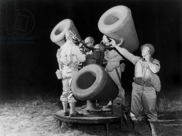 Allied anti-aircraft: Allied anti-aircraft listening device which amplified the sound of distant airplane engines. World War 2. Ca. 1941-1945. (BSLOC_2014_10_167)