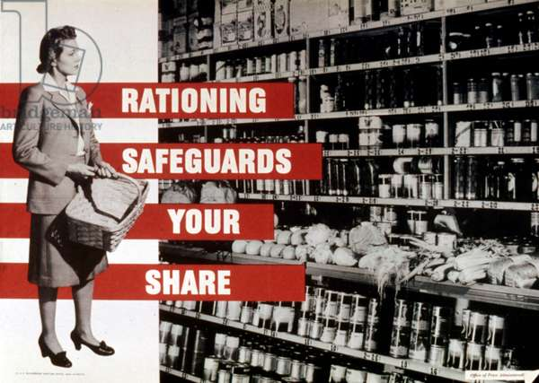 RATIONING SAFEGUARDS YOUR SHARE, World War II home front- federal food rationing poster. 1942-1945: RATIONING SAFEGUARDS YOUR SHARE, World War II home front- federal food rationing poster. 1942-1945