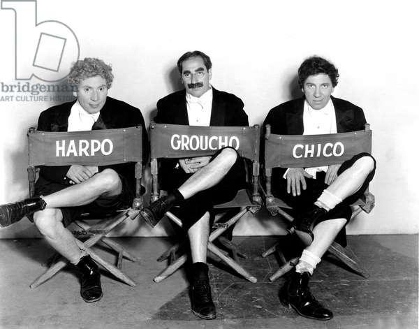 Marx Brothers - Harpo Marx, Groucho Marx, Chico Marx on the set of NIGHT AT THE OPERA, 1935