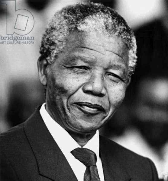Nelson Mandela, February 1992 (b/w photo)