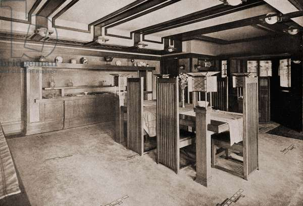 Dining set for the Robie House, 1910 (b/w photo)