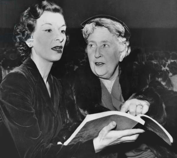 Patricia Jessel, Agatha Christie, studying script for WITNESS FOR THE PROSECUTION prior to London opening, 1953
