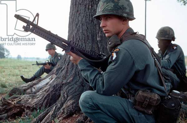Vietnam War. A member of the 101st Airborne Division, armed with an M60 machine gun, participates in: Vietnam War. A member of the 101st Airborne Division, armed with an M60 machine gun, participates in a field exercise in 1972.