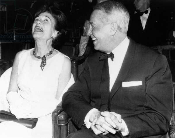 From left, the Duchess of Windsor (Wallis Simpson) and Maurice Chevalier at the International Dance Festival, Paris, November 4, 1963