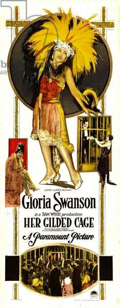 La cage doree: HER GILDED CAGE, center in feathered headdress: Gloria Swanson, 1922.