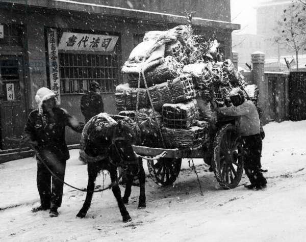 Korean War: Korean War: Civilians loading a cart with their belongings before fleeing Seoul, Korea, 1950.. Courtesy: CSU Archives / Everett Collection