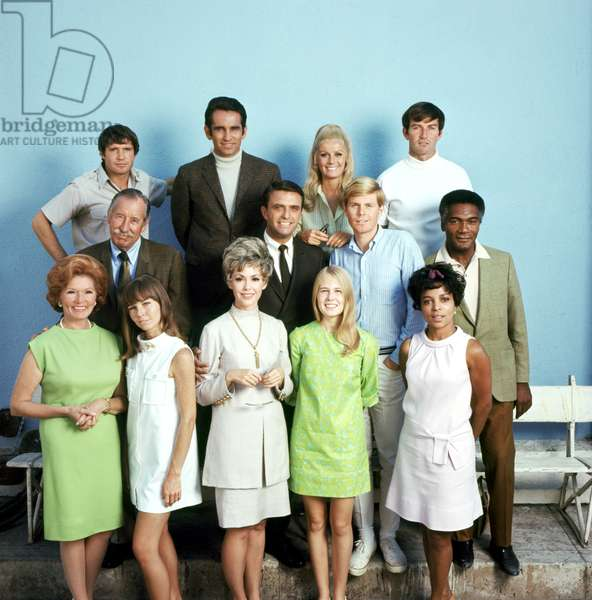 PEYTON PLACE, (back): Christopher Connolly, James Douglas, Joan Van Ark, Robert Hogan, (middle): Frank Ferguson, Ed Nelson, John Findlater, Percy Rodriguez, (front): Kasey Rogers, Patricia Morrow, Barbara Rush, Tippy Walker, Ruby Dee, (Season 5), 1964-69. TM & Copyright © 20th Century Fox Film Corp. All rights reserved, Courtesy: Everett Collection
