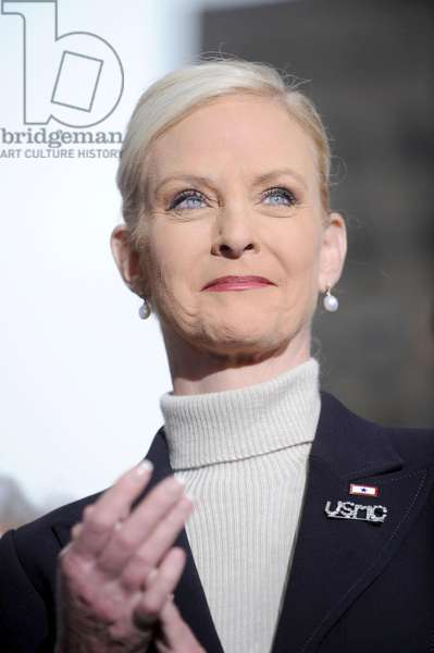 Cindy McCain on location for Senator John McCain Presidential Campaign Stop in New York, Rockefeller Plaza, New York, NY, February 05, 2008. Photo by: Kristin Callahan/Everett Collection