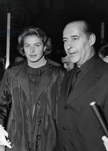 Ingrid Bergman, Roberto Rossellini at Orly airport, 1957