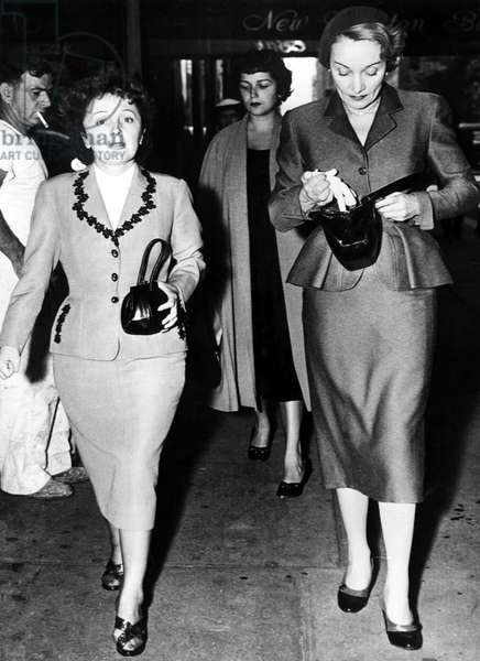Edith Piaf and Marlene Dietrch shopping in NYC, September 16, 1952.