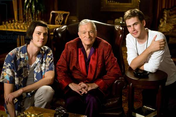 MISS MARCH, from left: Trevor Moore, Hugh Hefner, Zach Cregger, 2009, TM and ©Copyright Twentieth Century Fox. All rights reserved./Courtesy Everett Collection