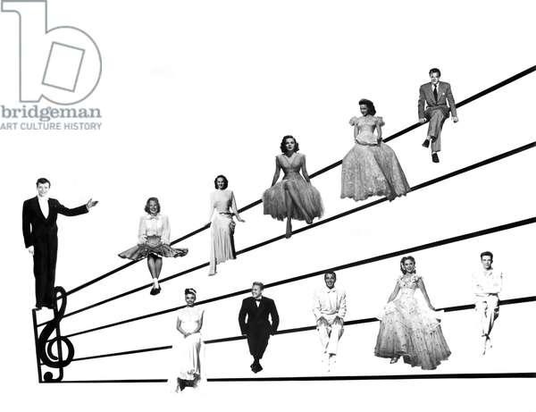TILL THE CLOUDS ROLL BY, Robert Walker, (top, l to r): June Allyson, Lucille Bremer, Judy Garland, Kathryn Grayson, Van Heflin, (bottom, l to r): Lena Horne, Van Johnson, Tony Martin, Dinah Shore, Frank Sinatra, 1946
