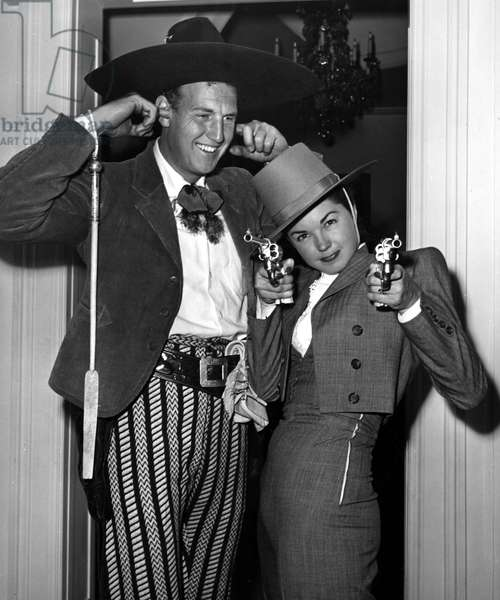ESTHER WILLIAMS and husband Ben Gage, 1946, at a party wearing Mexican attire.