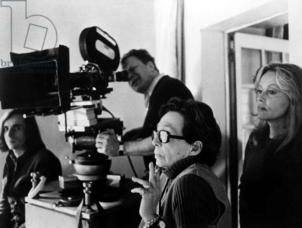 Marguerite Duras directing NATHALIE GRANGER, 1973. Cinematographer Ghislain Cloquet looks through the camera, Jeanne Moreau is at right.