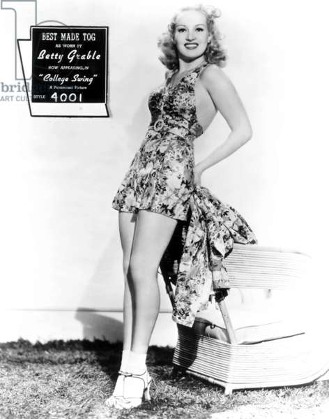 COLLEGE SWING, Betty Grable, 1938: COLLEGE SWING, Betty Grable, modeling a Best Made Tog bathing suit worn in the film, 1938
