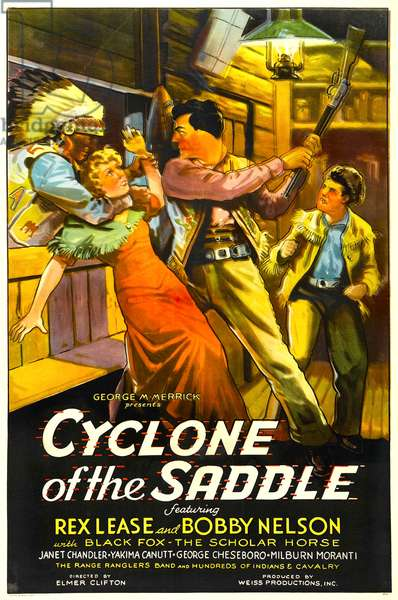 CYCLONE OF THE SADDLE: CYCLONE OF THE SADDLE, center right: Rex Lease, far right: Bobby Nelson, 1935
