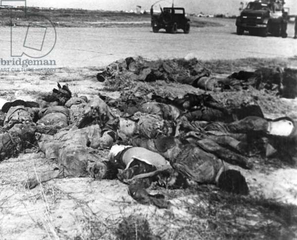 Vietnam War-Tet Offensive. Viet Cong dead after a Tet Offensive attack on the perimeter of Tan Son Nhut Air Base. Feb. 1, 1968.