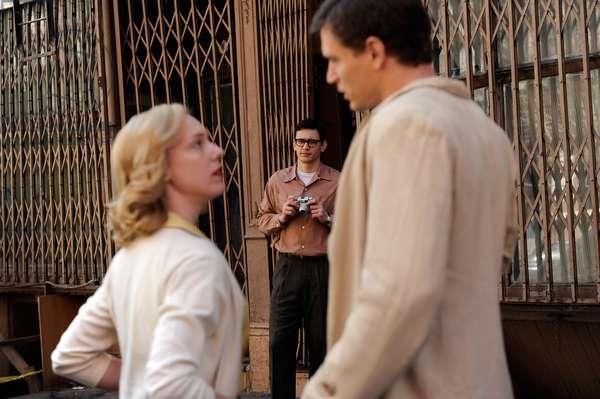 HOWL, from left: Nancy Spence, James Franco, as Allen Ginsberg, Jon Prescott, 2010. ph: JoJo Whilden/©Oscilloscope Pictures/Courtesy Everett Collection