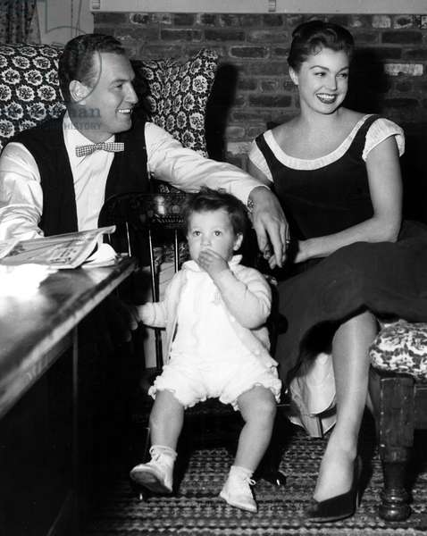ESTHER WILLIAMS and husband, Ben Gage, with son during