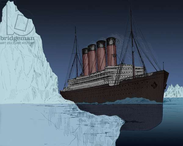 Iceberg tearing a long gash in hull of the ocean liner Titanic April 14 1912. The drawing appeared in John Walker's book AN UNSINKABLE TITANIC EVERY SHIP ITS OWN LIFEBOAT published after the disaster in 1912. Modern digital color., Photo by: 7 Continents History/Everett Collection (DI-MAR-Titanic-Bergs_BSIC-2010-10)