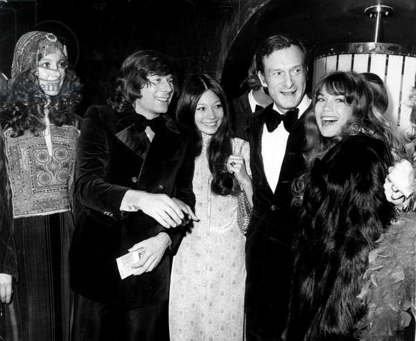 At the New York premiere of MACBETH are, from left, Francesca Annis, Roman Polanski, Irene Tsu, Hugh Hefner, Barbi Benton, December 1, 1971