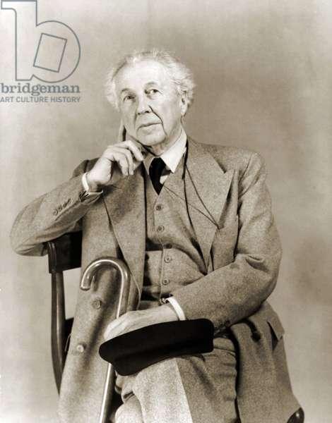 Frank Lloyd Wright: Frank Lloyd Wright (1867-1959), American architect in 1938 portrait.