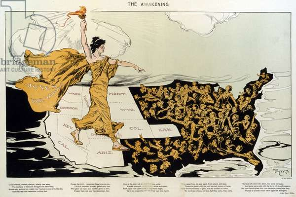 The awakening: THE AWAKENING. A torch-bearing female, symbolizing the awakening of the nation's women, striding across the western states, where women already had the right to vote, toward the East where women are reaching out to her. 1915.