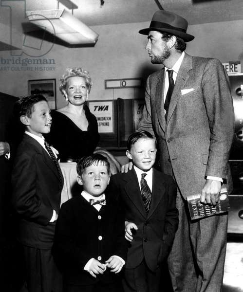 JONATHAN, GRETA, CAREY PAUL, STEPHEN and GREGORY PECK at airport during the production of MOBY DICK, 1955