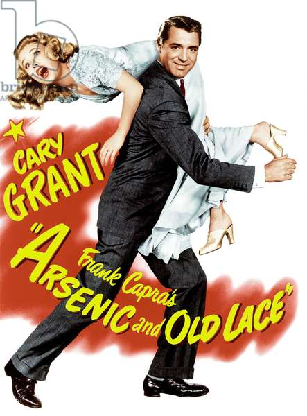 Film poster for Arsenic and Old Lace directed by Frank Capra and starring Cary Grant and Priscilla Lane, 1944