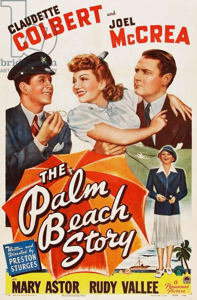 THE PALM BEACH STORY, US poster art, from left: Rudy Vallee, Claudette Colbert, Joel McCrea, 1942