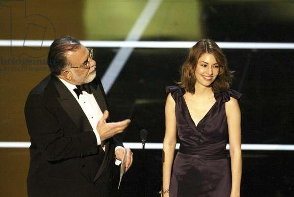 Sofia Coppola (right), Francis Ford Coppola, at the 76th ANNUAL ACADEMY AWARDS, 2/29/04, photo: Rick Rowell, © ABC / Courtesy: Everett Collection