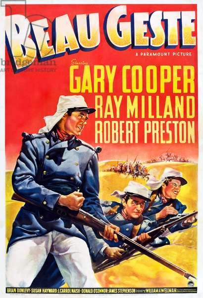 Beau Geste: BEAU GESTE, US poster art, from left: Gary Cooper, Ray Milland, Robert Preston, 1939